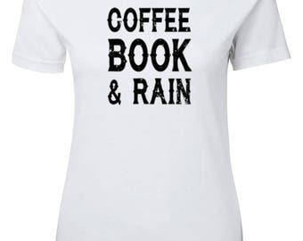 Coffee Book & Rain ladies t-shirt