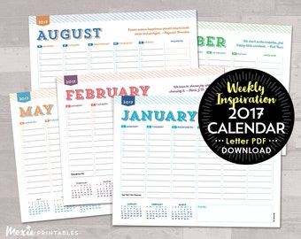 Weekly Inspiration To-Do List Calendar - (Letter Size) PRINTABLE