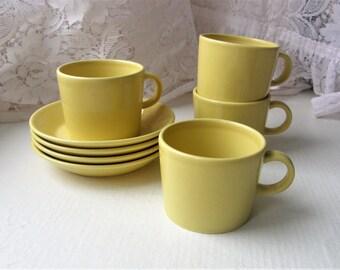 Arabia Finland TEEMA Series Two Little Coffee Cups And Saucers Designed By Kaj Franck