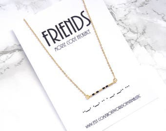 FRIENDS morse code necklace, best friends gift, friendship gift necklace, bFF morse code, dainty bar necklace, BFF necklace, beaded necklace
