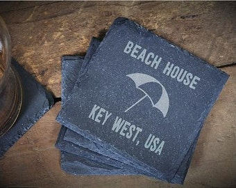 Custom Coaster, Beach House Gift, Custom Beach Coaster, Beach Decor Gift, Custom Coaster, Slate Coasters, Housewarming-Set of 4 LES1100049