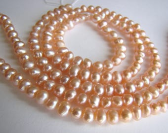 4mm-5mm Pink Freshwater Cultured Natural Potato Pearls - One Strand 14.5mm