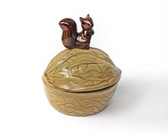 Vintage Ceramic Squirrel on a Nut Dish with Lid