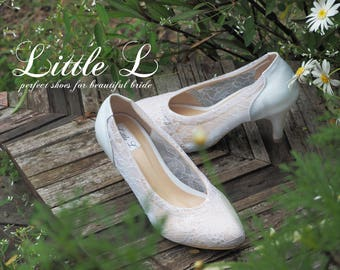 Lace Shoes - White Lace Shoes for Wedding or Casual Flat and Heels Custom Size
