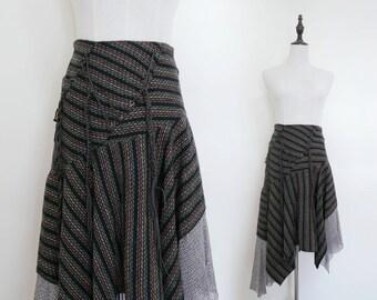 Black Colourful Strip High Waist Pleated A-Line Vintage Bohemian Midi Women Skirt