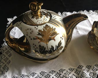 Reduced further !!  ! Glorious grand gold tea set / rare gold tea pot and five duos/SALE!