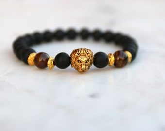 Matte Black and Gold Lion Head Bracelet - Birthday Gift for Boyfriend, Husband, Anniversary Gift for Boyfriend, Husband, Gold Lion Charm