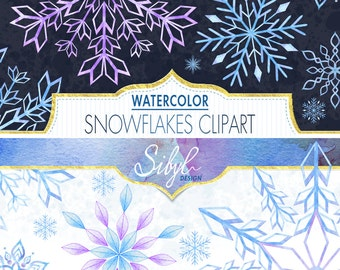 Digital Christmas Clipart, Watercolor Snowflakes Clipart, Watercolor Blue Flake Winter Clipart, Snow Holiday Clipart, Flake Hand Painted DIY