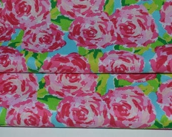 Pink and Blue Roses Fabric, Cotton Rose Fabric, Floral Apparel Fabric
