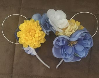 White, yellow and blue mouse ears flowered headband