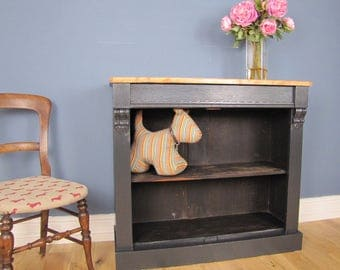 Painted Victorian Bookcase  With Drawer Stripped Pine Top Farrow & Ball Off Black