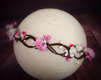 Christmas Baby Girl newborn Halo Headband Hairband Pip Berry Flowers TieBack Photography Prop