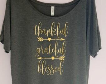Thanksgiving shirt, Thankful Grateful Blessed Slouchy Shirt,Women's Thanksgiving Shirts, Thanksgiving Shirt, Thankful Shirt, Fall Shirt