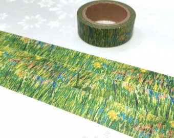 green grass washi tape 7M Van Gogh oild painting Washi masking tape countryside scenery green yellow grasses sticker tape decor diary gift