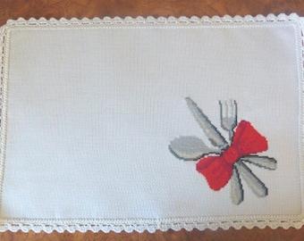 Cross stitch napkin, White and red napkin, Cross stitch napkin decor