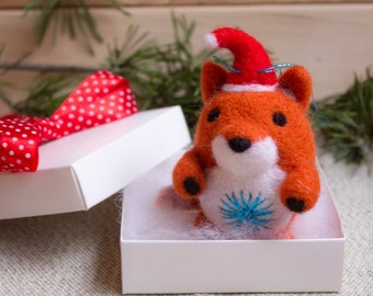 SALE Felt Christmas ornaments Felted Fox Ornament, Christmas Ornament,Fox Ornament, Christmas Decoration, Woodland Ornament, Christmas Gift