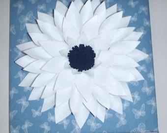 "Large Felt Flower Canvas 12""x 12"" Wall Hanging"