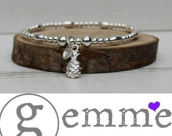 Sterling Silver Stretch Stacking Bracelet with cute & quirky Pineapple Charm