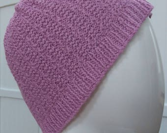 Ladies Dusty Pink Hand Knitted 100% Bamboo Wool Beanie Cloche