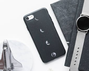 iPhone Case - Moon - iPhone 7 Case, iPhone 6 Case, iPhone 6s, Black And White iPhone Case, Matte iPhone Case, Travel, Minimalist iPhone Case