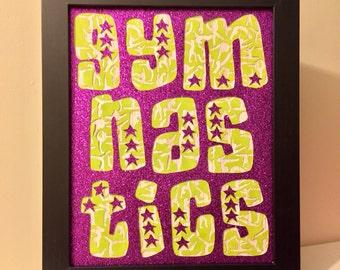 Framed Gymnastics Glitter Word Wall Art 8x10 Gymnastics Decoration Gymnast gift decor present