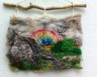 Misty Morning Rainbow. Felted painting.