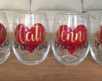 Bachelorette Party, Bridal Stemless Wine Glasses, Bridal Party Wine Glasses, Stemless Wine Glasses, Bridesmaid Gifts, Bridal Party Gifts