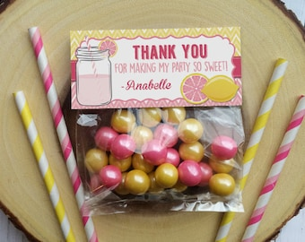 Pink Lemonade Printable Party Favor Treat Bag Topper Thank You Tag (PDF File only)