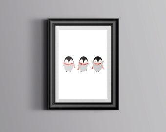 A5 Christmas Penguin Print