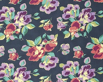 Amy Butler Bright Heart Natural Beauty in Navy freespirit cotton quilting floral blue pink purple flowers fabric material by the metre yard