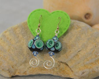 Lampwork Blue/Green Bead with Crystal Accents Dangle Earrings