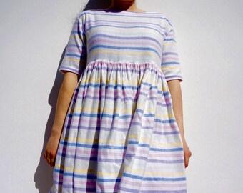 Candy Stripe Dress Size UK 10 / US 6 / Europe 38 Brushed Cotton Dress