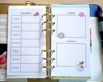 """Menu planner for calendar of the size """"staff"""""""