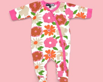 Flower footie pajamas, Baby coverall, baby pajamas, baby sleeper, newborn outfit, take home outfit, baby girl, baby girl coverall, footies