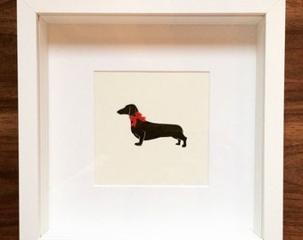 Bespoke Framed Paper Cut-Out Silhouette of a Dachshund / Sausage Dog with Fabric Red Bow