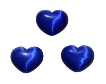 Lot of 3 Puffy Heart Blue Fiber Optic Cats Eye Glass Pocket Sized Hand Carved