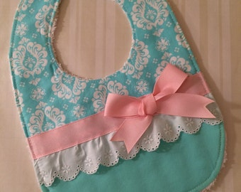 Cute Girl Bib - Aqua, Pink & White Eyelet with Bow - Spring Baby Bib - Cute Brocade Bib - Great Shower Gift - Modern Bib - Aqua and Pink Bib