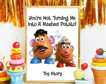 Toy Story Printables, Mr Potato And Mrs Potato Head, Disney Quotes, Toy Story Print, Nursery Decorations, Birthday Party Decor