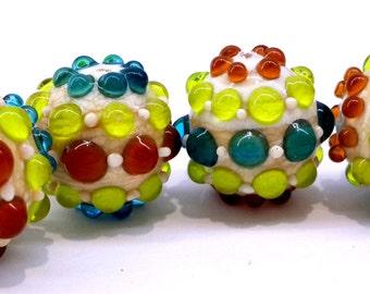 Bumpy Lampwork Bead Set, Handmade Lampwork Bead Set of (4)