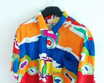 Vintage Jams World Multi-Color front button shirt
