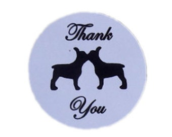 Kissing French Bulldog Round Thank You Self Adhesive Glossy Labels Envelope Seals Stickers Wedding Favors