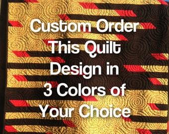 Custom Handmade Modern Quilt, Black Quilt, Red Quilt, White Quilt, Green Quilt, Blue Quilt, Purple Quilt, Quilt Gift for Man, Boy, Girl