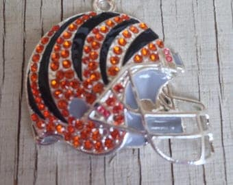 Football helmet 40mm x 37mm Rhinestone pendant for necklaces chunky jewelry gumball necklace wholesale supplies bubblegum orange black