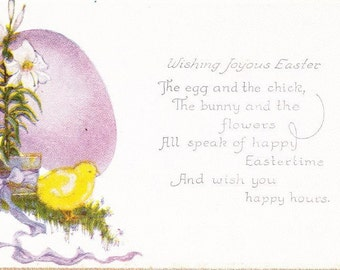 """Vintage Easter Lily Holiday Postcard Baby Chick Gold Edges Unposted Color """"Wishing Joyous Easter"""" 5.5"""" x 3.5"""""""