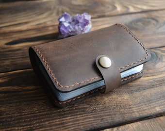 Leather  Card Holder, Leather Credit Cardholder, Leather Card Case, Leather Card Wallet, Minimalist Mens Womens Case for 20 Cards