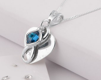 Silver heart birthstone ashes/hair memorial infinity necklace