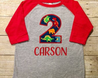 boys dinosaur birthday shirt, boys birthday shirt, name and number shirt, dinosaur party, dinosaur birthday, dinosaur shirt, RED raglan
