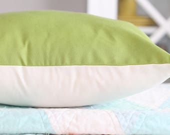 Apple Green and White Pillow Cover - 18 by 18 Inch Pillow Cover - Boy Bedroom Decor - Spring Home Decor - Green Pillow Cover - Green Bedroom