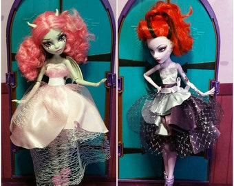 Monster high fashion pop party doll clothes monster high party dress custom ooak handmade doll clothing monster high dress ooak doll clothes