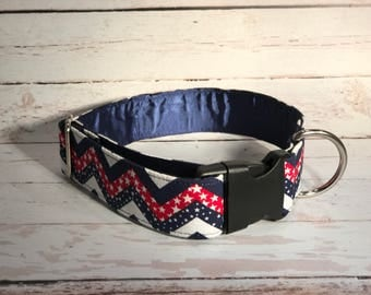 MADE TO ORDER- American Flag Chevron Dog Collar, Choose width- Buckle or Martingale- add Embroidery and/or Leash